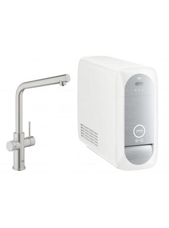 Смеситель GROHE Blue Home с функциями фильтрации, охлаждения и газирования водопроводной воды (фильтр в комплекте), суперсталь