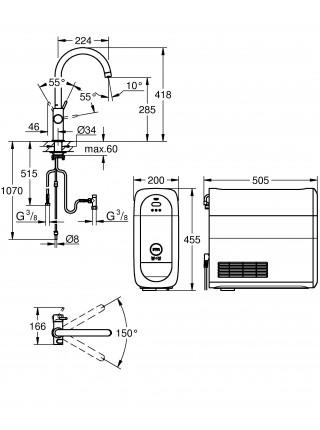 Grohe Blue Home с функциями фильтрации охлаждения и газирования водопроводной воды (фильтр в комплекте) хром