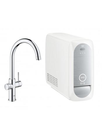 Смеситель GROHE Blue Home с функциями фильтрации, охлаждения и газирования водопроводной воды (фильтр в комплекте), хром