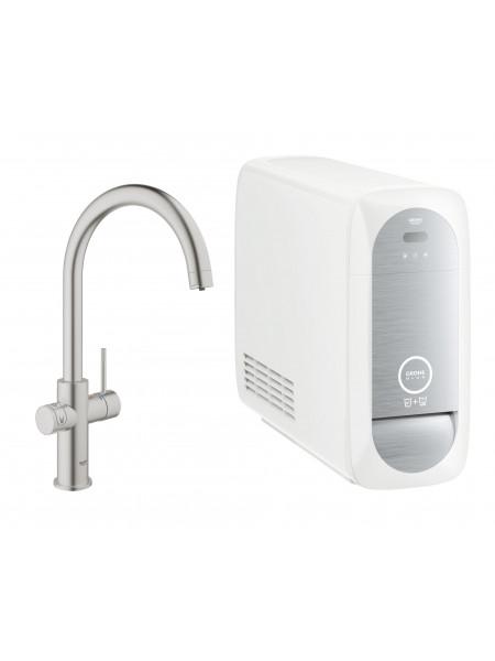 Grohe Blue Home с функциями фильтрации охлаждения и газирования водопроводной воды (фильтр в комплекте) суперсталь